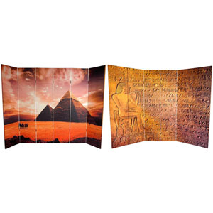 Six Ft. Tall Double Sided Egyptian Pyramid Canvas Room Divider, Width - 96 Inches