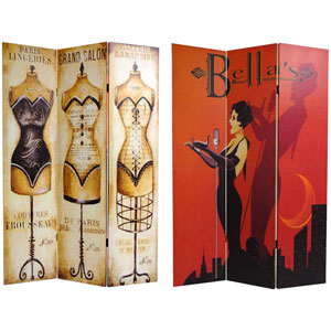 Double Sided Mannequin and Singer Canvas Room Divider, Width - 48 Inches