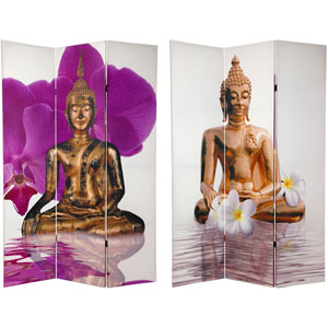 Six Ft. Tall Double Sided Thai Buddha Room Divider, Width - 48 Inches