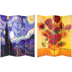 Six Ft. Tall Double Sided Works of Van Gogh Canvas Room Divider Four Panel, Width - 64 Inches