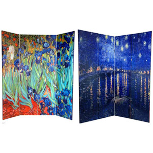 Van Goghs Irises and Starry Night Art Print Room Divider Floor Screen, Width - 64 Inches
