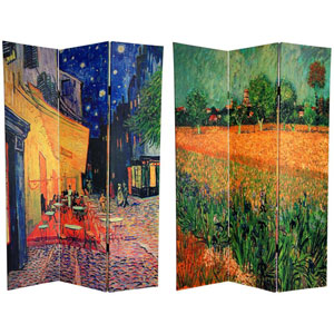 Van Goghs Cafe Terrace and View of Arles Art Print Room Divider Screen, Width - 48 Inches
