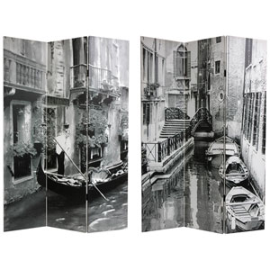 Double Sided Scenes of Venice Canvas Room Divider, Width - 48 Inches