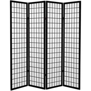 6 ft. Tall Canvas Window Pane Room Divider - Black - 4 Panels
