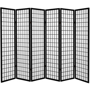 6 ft. Tall Canvas Window Pane Room Divider - Black - 6 Panels