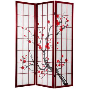 6 ft. Tall Cherry Blossom Shoji Screen Rosewood
