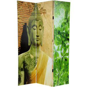 Six Ft. Tall Draped Buddha Double Sided Room Divider, Width - 15.75 Inches