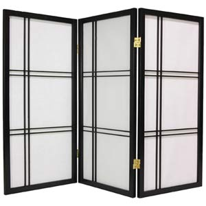 Black 36-Inch Double Cross Shoji Screen