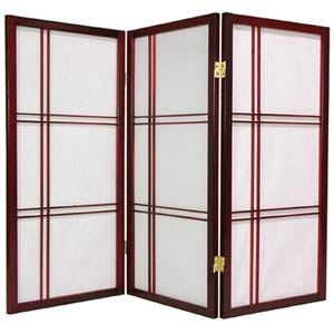 Rosewood 36-Inch Double Cross Shoji Screen