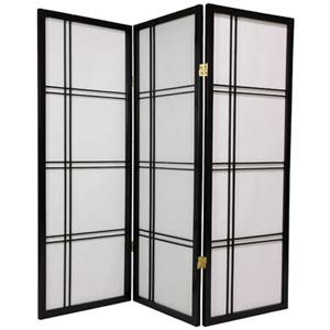 Black 48-Inch Double Cross Shoji Screen