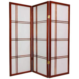 Walnut 48-Inch Double Cross Shoji Screen