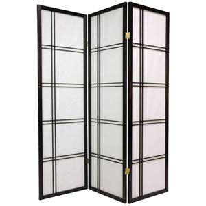 Black 60-Inch Double Cross Shoji Screen