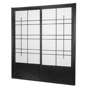 Black 7-Foot Tall Eudes Shoji Sliding Door Kit