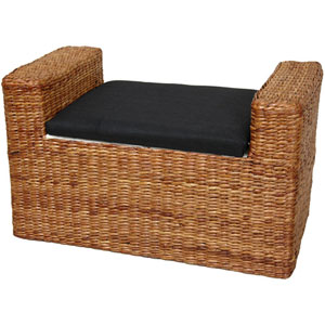 Rush Grass Storage Bench Honey, Width - 24 Inches