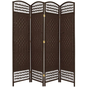 5 1/2 Ft. Tall Fiber Weave Room Divider Dark Mocha Four Panel, Width - 15.5 Inches
