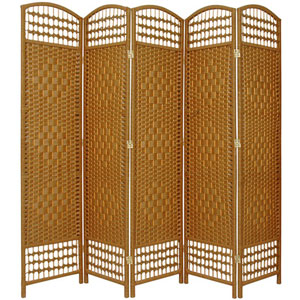 5 1/2 Ft. Tall Fiber Weave Room Divider Light Beige Five Panel, Width - 15.5 Inches