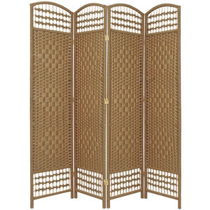 5 1/2 Ft. Tall Fiber Weave Room Divider Natural Four Panel, Width - 15.5 Inches