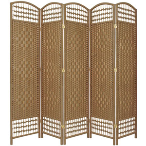 5 1/2 Ft. Tall Fiber Weave Room Divider Natural Five Panel, Width - 15.5 Inches
