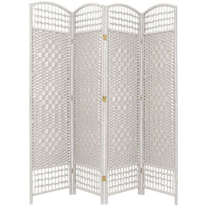 5 1/2 Ft. Tall Fiber Weave Room Divider White Four Panel, Width - 15.5 Inches