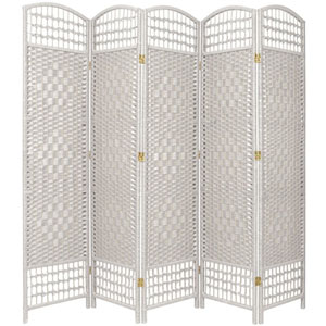 5 1/2 Ft. Tall Fiber Weave Room Divider White Five Panel, Width - 15.5 Inches