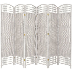5 1/2 Ft. Tall Fiber Weave Room Divider White Six Panel, Width - 15.5 Inches