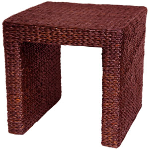 Rush Grass End Table Red Brown, Width - 18 Inches