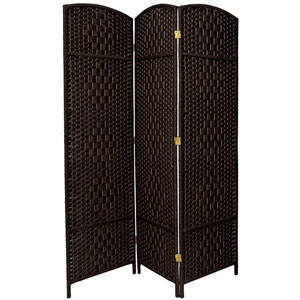 Six Ft. Tall Diamond Weave Fiber Room Divider Black Three Panel, Width - 58.5 Inches