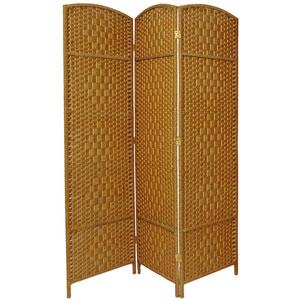 Six Ft. Tall Diamond Weave Fiber Room Divider Light Beige Three Panel, Width - 58.5 Inches