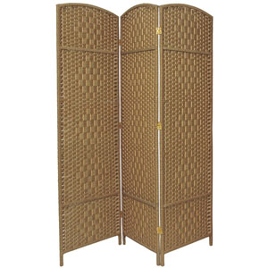 Six Ft. Tall Diamond Weave Fiber Room Divider Natural Three Panel, Width - 58.5 Inches