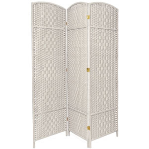 Six Ft. Tall Diamond Weave Fiber Room Divider White Three Panel, Width - 58.5 Inches