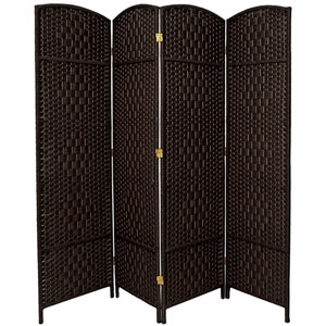 Six Ft. Tall Diamond Weave Fiber Room Divider Black Four Panel, Width - 19.5 Inches