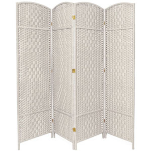 Six Ft. Tall Diamond Weave Fiber Room Divider White Four Panel, Width - 19.5 Inches