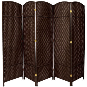 Six Ft. Tall Diamond Weave Fiber Room Divider Dark Mocha Five Panel, Width - 19.5 Inches