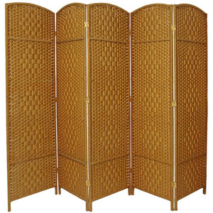 Six Ft. Tall Diamond Weave Fiber Room Divider Light Beige Five Panel, Width - 19.5 Inches