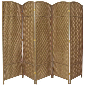 Six Ft. Tall Diamond Weave Fiber Room Divider Natural Five Panel, Width - 19.5 Inches