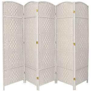 Six Ft. Tall Diamond Weave Fiber Room Divider White Five Panel, Width - 19.5 Inches