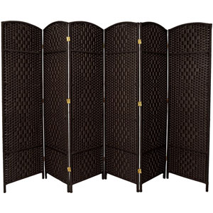 Six Ft. Tall Diamond Weave Fiber Room Divider Black Six Panel, Width - 19.5 Inches
