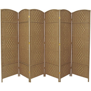 Six Ft. Tall Diamond Weave Fiber Room Divider Natural Six Panel, Width - 19.5 Inches