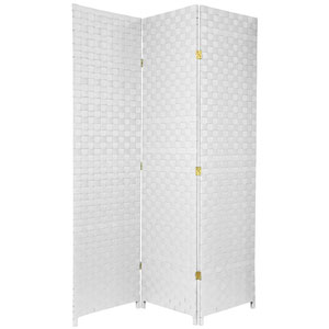 Six Ft. Tall Woven Fiber Outdoor All Weather Room Divider Three Panel White, Width - 52 Inches