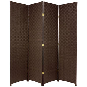 Six Ft. Tall Woven Fiber Outdoor All Weather Room Divider Four Panel Dark Brown, Width - 70 Inches