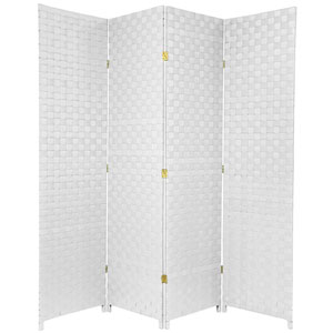 Six Ft. Tall Woven Fiber Outdoor All Weather Room Divider Four Panel White, Width - 70 Inches