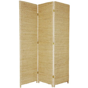 Six Ft. Tall Rush Grass Woven Room Divider Three Panel Natural, Width - 52 Inches