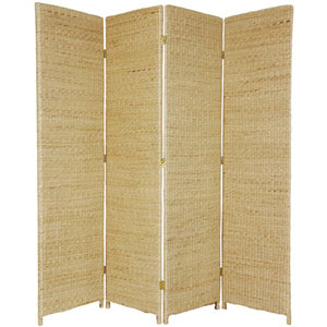 Six Ft. Tall Rush Grass Woven Room Divider Four Panel Natural, Width - 70 Inches