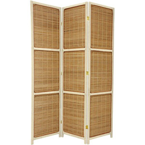 Six Ft. Tall Woven Accent Room Divider Three Panel Cream, Width - 53 Inches