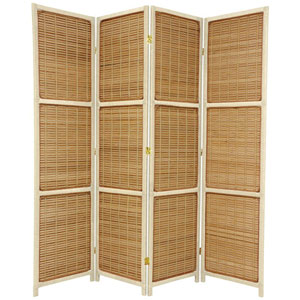 Six Ft. Tall Woven Accent Room Divider Four Panel Cream, Width - 71 Inches