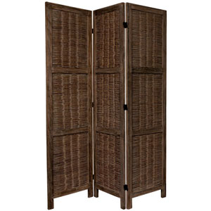 5 1/2 Ft. Tall Bamboo Matchstick Woven Room Divider Burnt Brown Three Panel, Width - 51.75 Inches