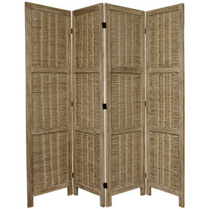 5 1/2 Ft. Tall Bamboo Matchstick Woven Room Divider Burnt Grey Four Panel, Width - 17.25 Inches