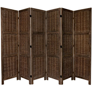 5 1/2 Ft. Tall Bamboo Matchstick Woven Room Divider Burnt Brown Six Panel, Width - 17.25 Inches