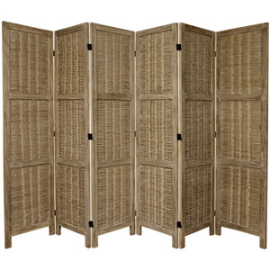5 1/2 Ft. Tall Bamboo Matchstick Woven Room Divider Burnt Grey Six Panel, Width - 17.25 Inches
