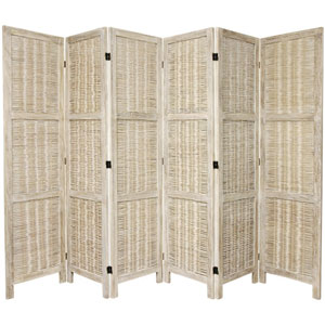 5 1/2 Ft. Tall Bamboo Matchstick Woven Room Divider Burnt White Six Panel, Width - 17.25 Inches